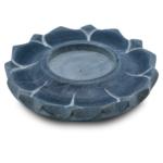 Lotus kaars- en wierookhouder zeepsteen grijs