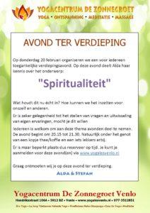 "Verdiepingsavond ""Spiritualiteit"" Donderdag 20 februari 20:15u."