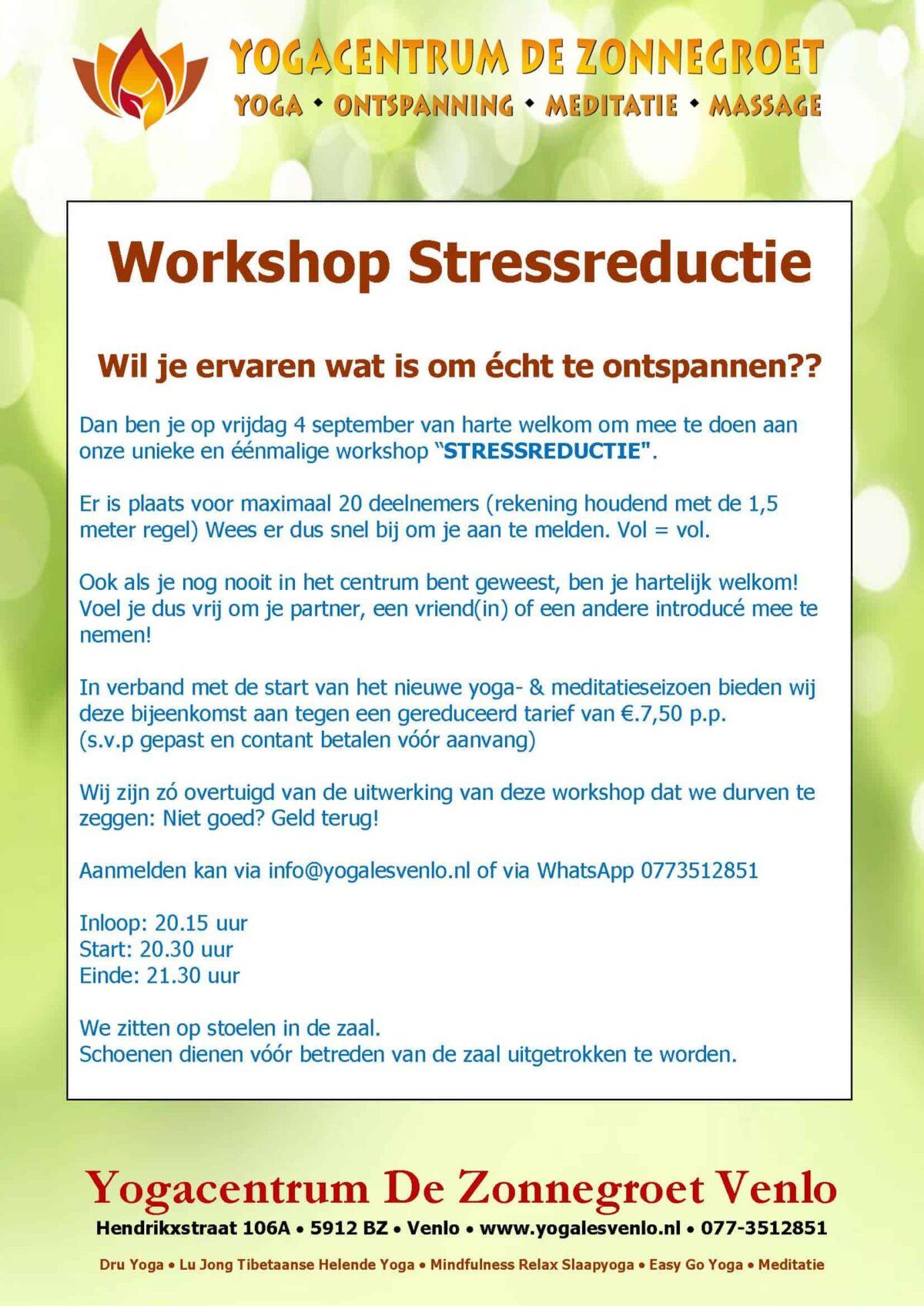 """Workshop """"Stressreductie"""""""